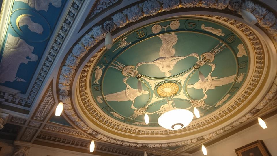 The ceiling of the council chambers