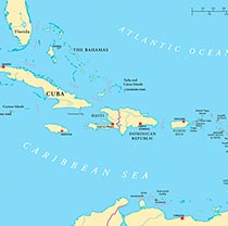 Small map of the caribbean