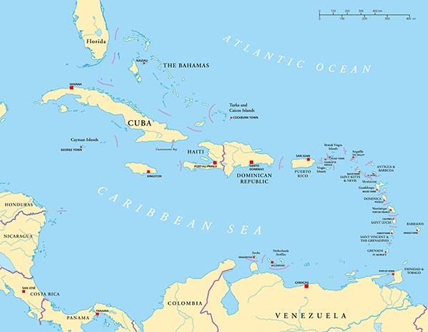 Caribbean map (Researching African Caribbean Health (ReACH ...