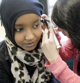 Students doing ear test