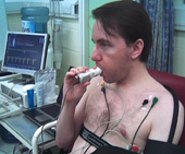 Man undergoing series of medical tests