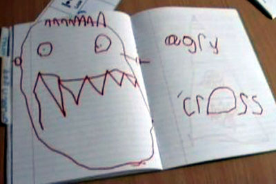 Image 1: Angry face in an emotions book