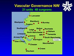 Image: Vascular Governance North West is a collaboration of 48 surgeons in the North West who now have a database of over 17,000 carotid and aortic aneurysm repair procedures.  This database allowed us to develop the British Aneurysm Repair Score predicting the risk of perioperative mortality.